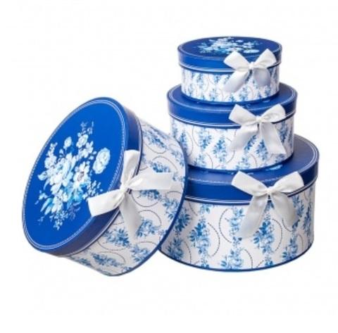 Набор коробок круглых Гжель 4шт, D23хH10см, белый/синий