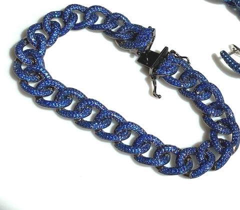 47966 - Браслет PAVE CHAIN из серебра в черном родаже с темно-синими микроцирконами