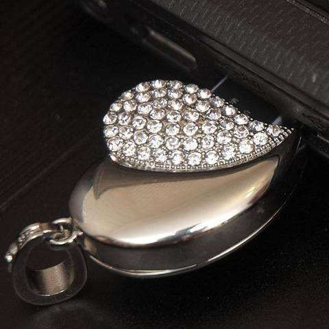 Флешка-кулон usb в виде сердца со стразами серебряного цвета jf_p_heart_silver_8
