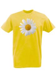 Футболка с принтом Цветы (Ромашки) желтая 002