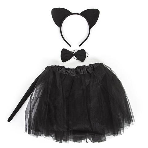 Набор (ободок, юбочка, бантик, хвостик) Кошечка, Черный