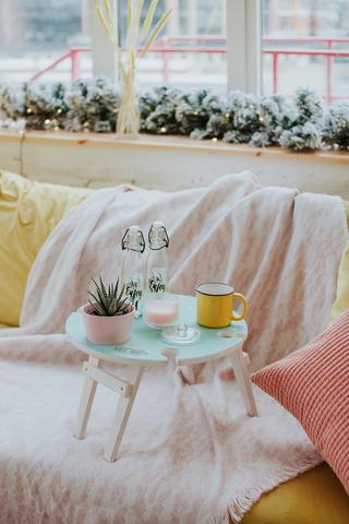Складной столик для вина, нежно-бирюзовый