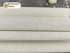 Крупный глиттер сахарный белый с переливом