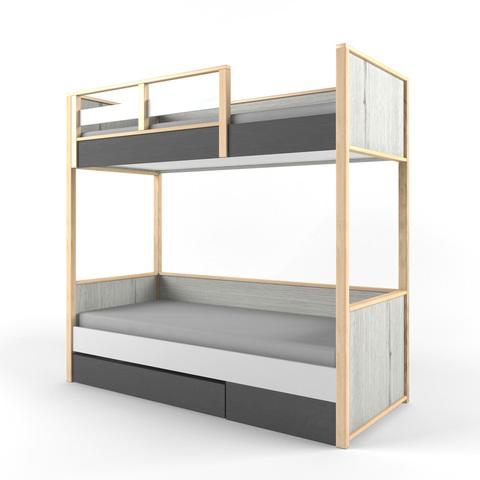 Кровать 2х-ярусная с фальшпанелью УНИВЕРСАЛЬНАЯ «Ньютон Грэй»