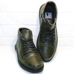 Мужские термоботинки. Зимние ботинки кеды Luciano Bellini BC2803 TL Khaki.
