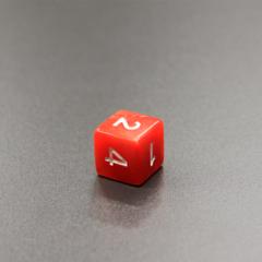 Куб D6 мраморный: Красный 16мм с цифрами