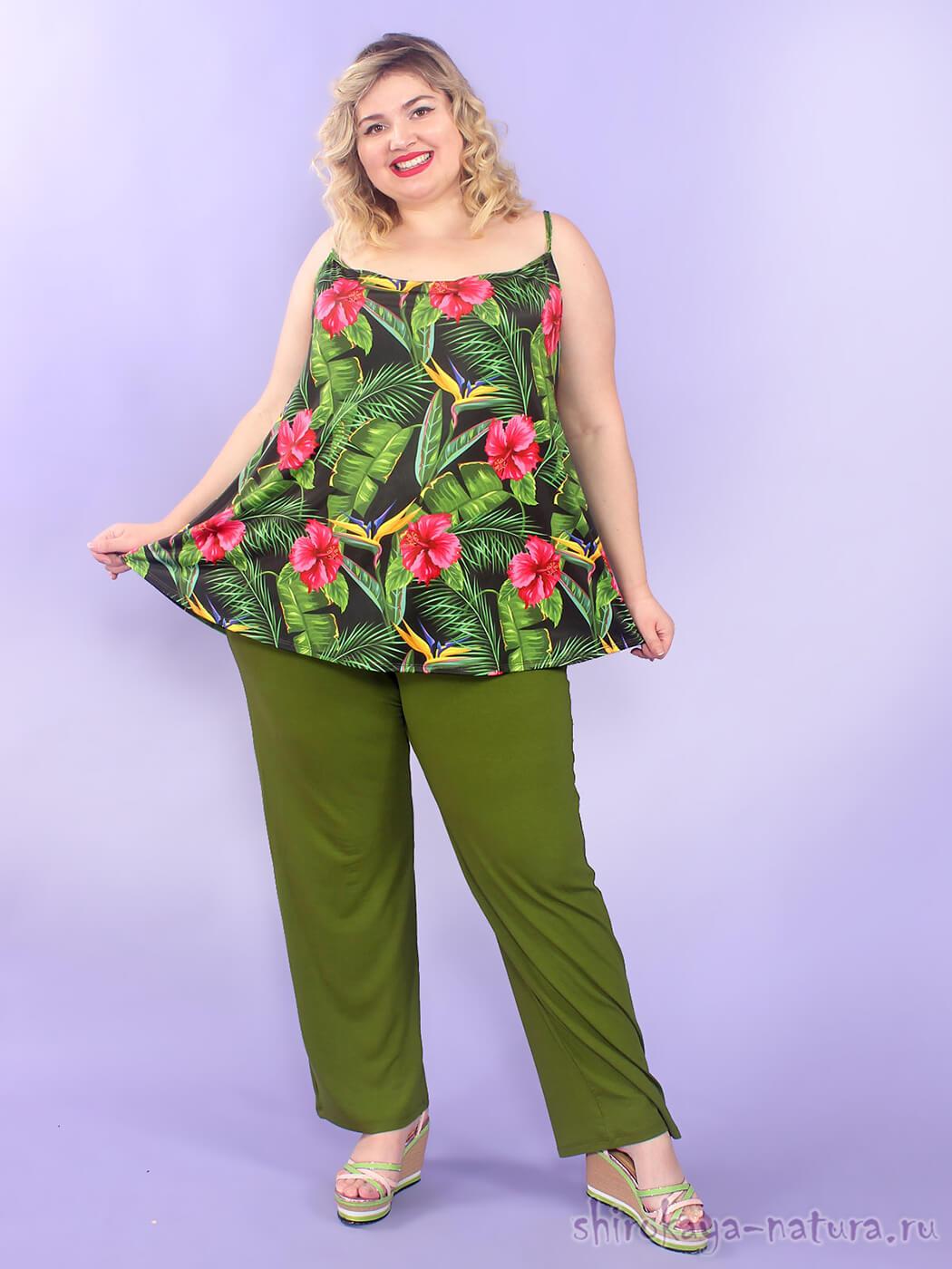 Оливковые триктажные брюки 76 размер