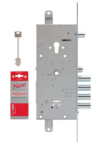 Замок врезной Cisa (Чиза) двухсистемный NEW CAMBIO FACILE 57.986.48 (тех. упаковка), ключ 64 мм