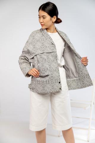 Куртка черно-белая с шалевым воротником (принт 49-09) Adili