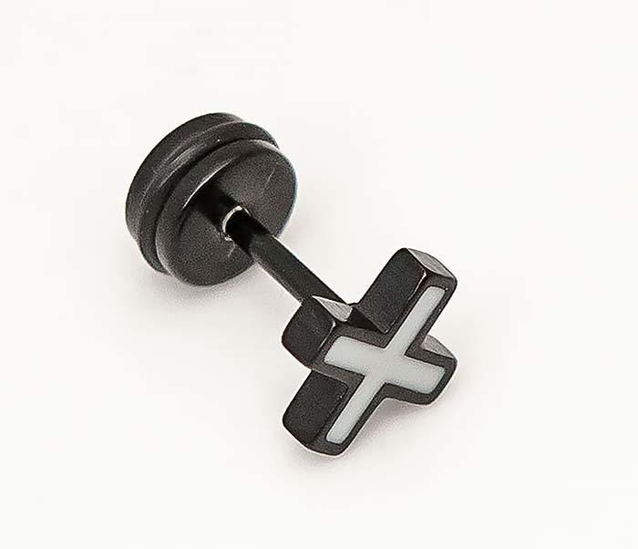 ER467-3 Черные серьги из стали в виде креста, винт фото 05