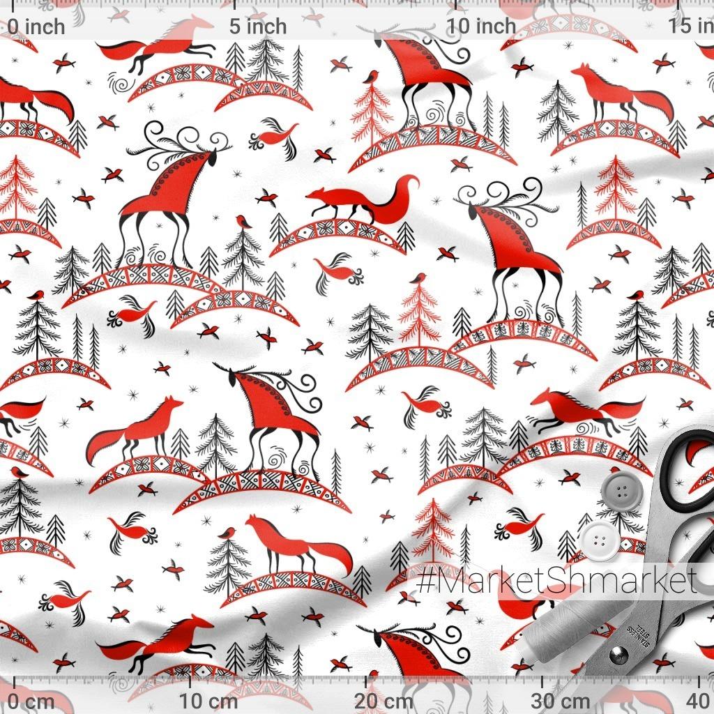 Олени, лисы, птицы. Мезенская роспись. (Дизайнер Irina Skaska)