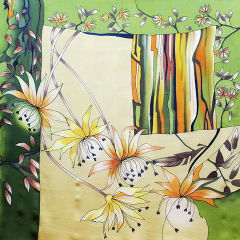 Шелковый платок батик Сухоцвет С-60
