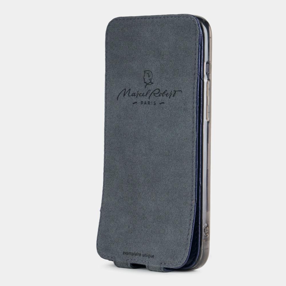 Чехол для iPhone 12 Pro Max из натуральной кожи страуса, синего цвета
