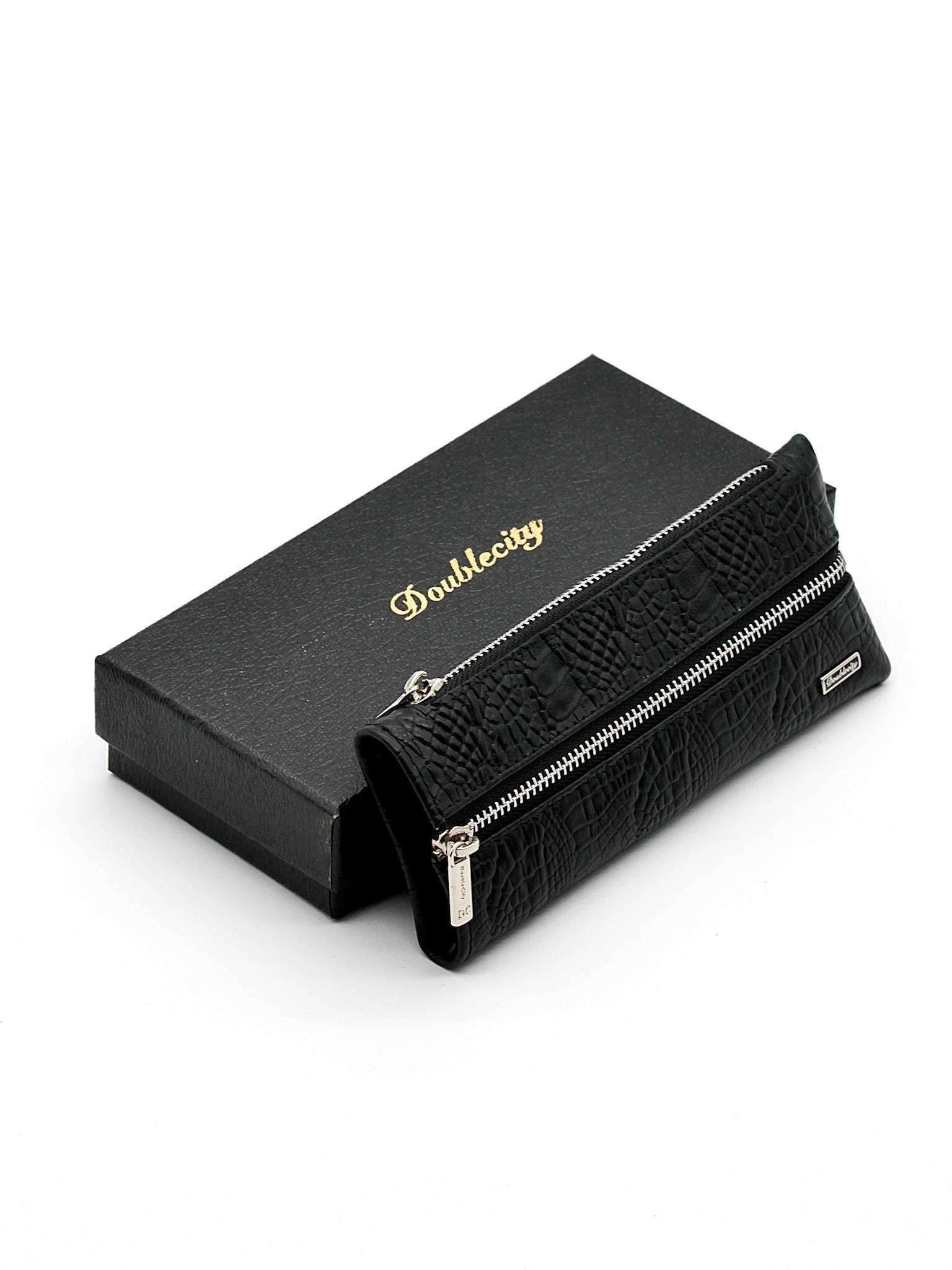 Фото ключница на 2 молниях с 6 карабинами для ключей чёрная DoubleCity 068-DC31-45A
