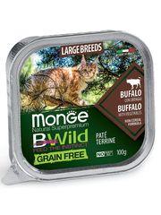 Консервы для кошек крупных пород, Monge Cat BWild GRAIN FREE, из буйвола с овощами