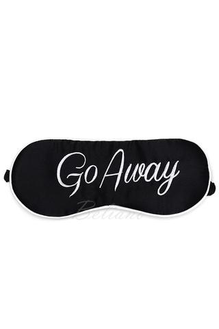 Шелковая маска для сна из натурального шелка черного цвета с вышивкой Go Away
