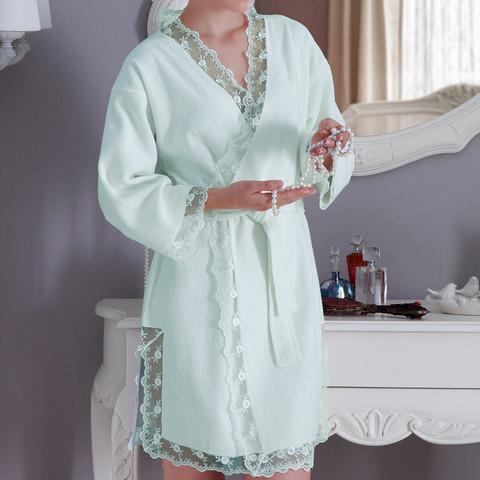 НАБОР BIANCA бирюзовый женский халат и полотенце Tivolyo Home (Турция)