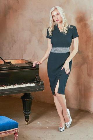 Фото трикотажное нарядное платье сдержанного стального цвета - Платье З415-213 (1)