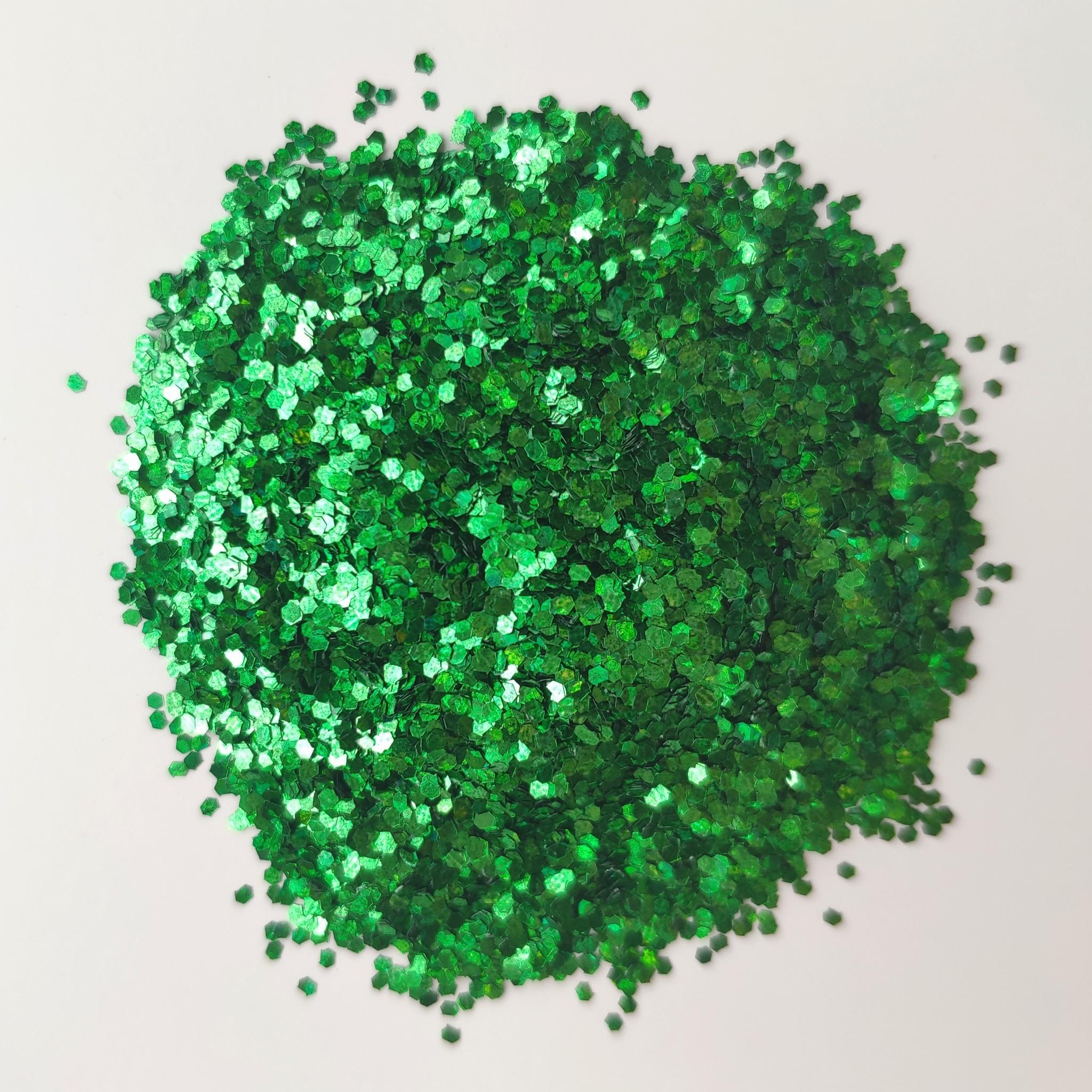 Блестки для слайма крупные профи зеленый изумруд 20мл