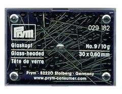 Булавки Prym, портновские с черными стеклянными головками 30х0,6мм (арт. 029182)