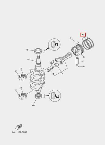 Кольца поршневые комплект для лодочного мотора F20 Sea-PRO (3-6)