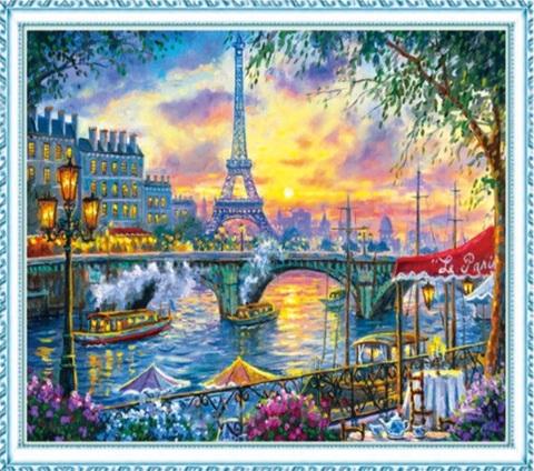 Алмазная Мозаика 50x65 Вид на Эйфелеву башню через реку