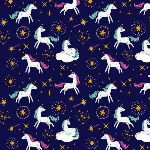 Единороги на темно-фиолетовом фоне