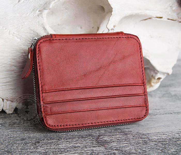 WL289-3 Красный кошелек из натуральной кожи на молнии фото 02