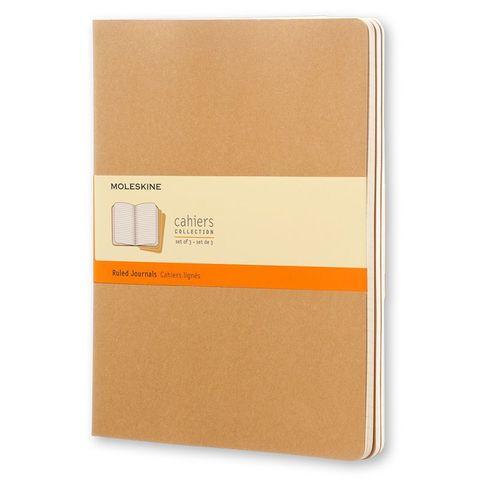 Блокнот Moleskine CAHIER JOURNAL QP421 XLarge 190х250мм обложка картон 120стр. линейка бежевый (3шт)