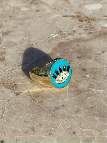 Кольцо-печатка Глаз из позолоченного серебра с голубой эмалью
