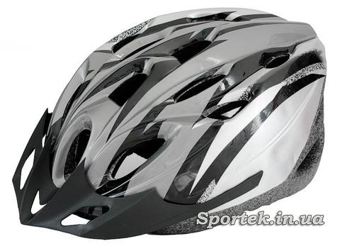 Загальний вигляд крос-кантрійного велошлема сіро-білого кольору