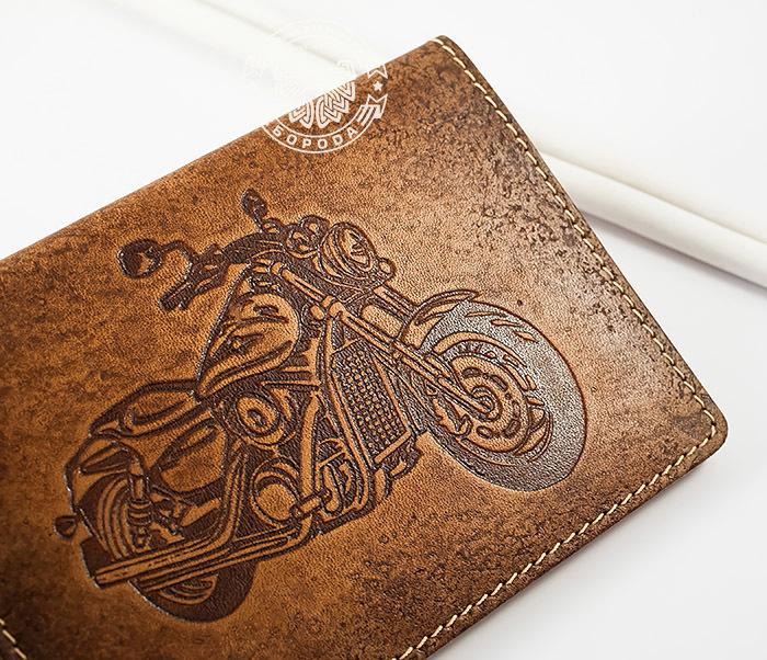 BY04-07-02 Прикольная кожаная обложка для документов на мотоцикл фото 02