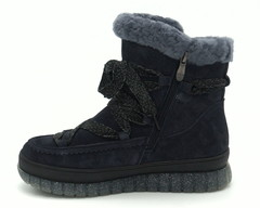 Ботинки зима из замши синего цвета