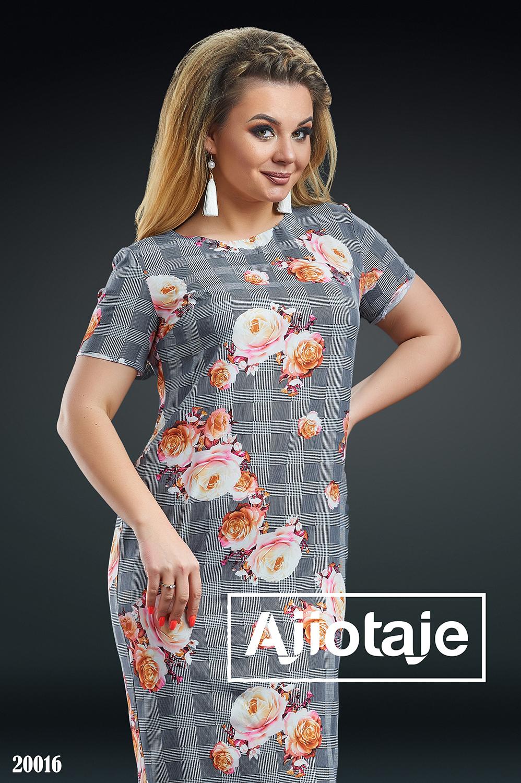 Платье в клеточку с цветочным узором