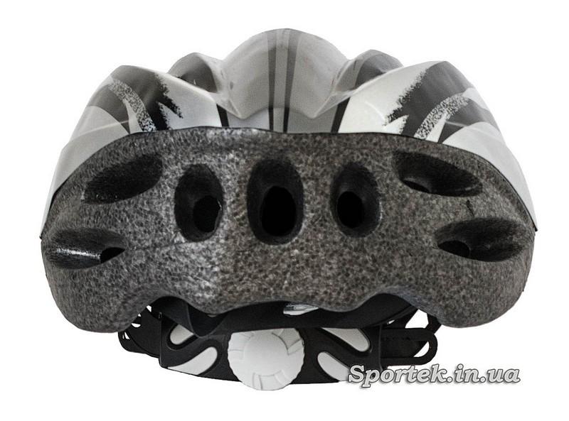 Вигляд ззаду крос-кантрійного велошлема сіро-білого кольору