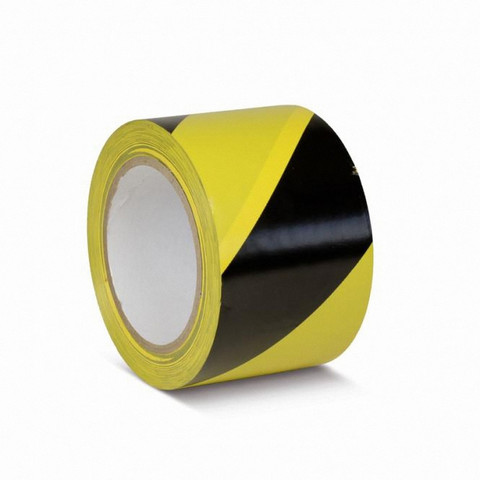 Сигнальная клейкая лента для разметки желтая/черная 75 мм x 30 м (KMSW07533)