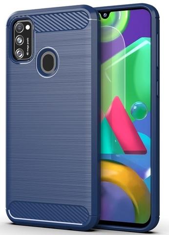 Чехол в стиле карбон синего цвета на Samsung Galaxy M21, серия Carbon от Caseport