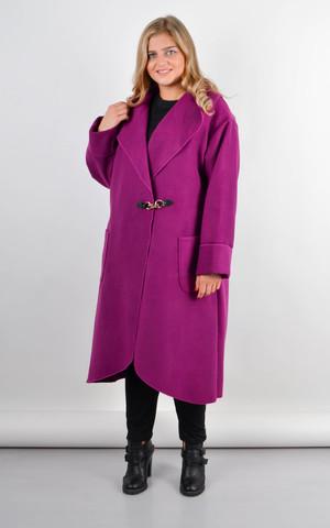 Сарена. Женское пальто-кардиган больших размеров. Фуксия.