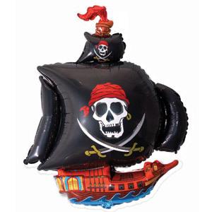 Фольгированный шар Пиратский корабль черный 102см Х 78см