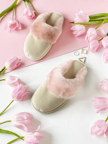 Меховые тапочки розовые закрытые с текстильной стелькой бежевой