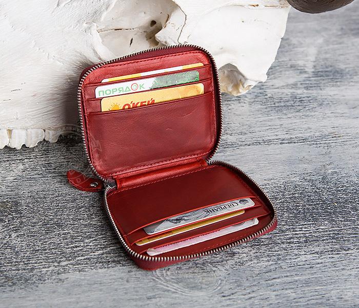 WL289-3 Красный кошелек из натуральной кожи на молнии фото 05