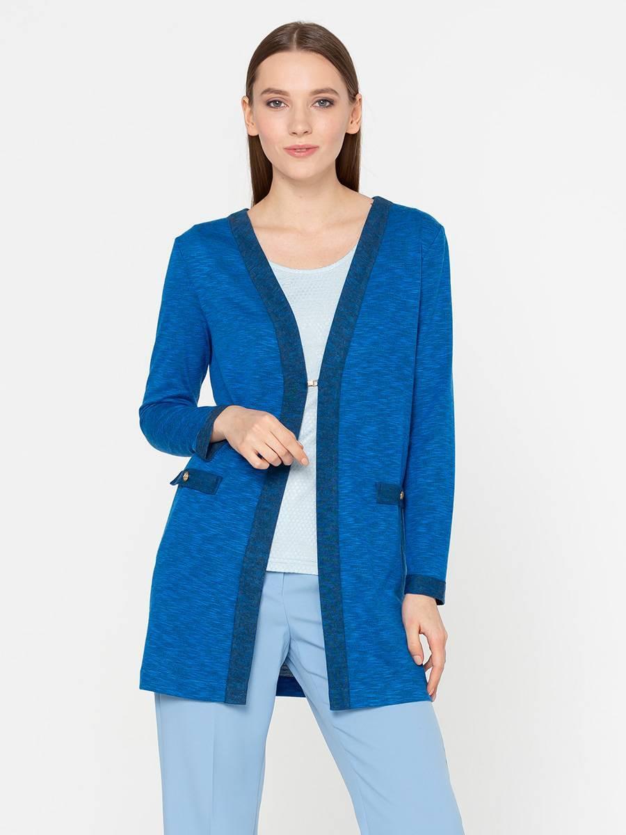 Жакет Д507-446 - Жакет однотонного василькового цвета с контрастной темно-синей отделкой. Трикотажный жакет свободной, прямой формы с длинным рукавом; незаменимая вещь для холодного времени года. Застежка на один крючок чуть ниже груди. Благодаря акрилу в составе, ткань не закатывается и не деформируется после стирки. В комбинации с другими вариантами одежды вы можете выглядеть по-деловому строго в офисе или непринужденно и расслабленно на встрече с подругами.