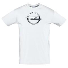 Футболка с принтом Опель (Opel) белая