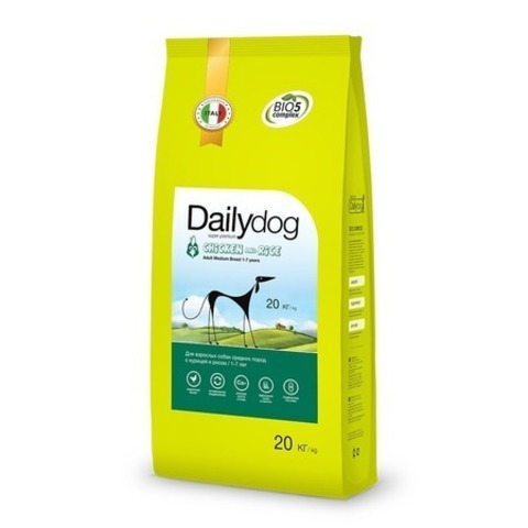 Сухой корм Dailydog Adult Medium Breed для взрослых собак средних пород с курицей и рисом, 20 кг.