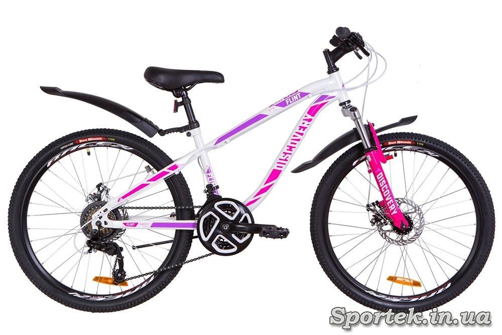 Горный универсальный велосипед Discovery Flint AM DD - бело-малиновый