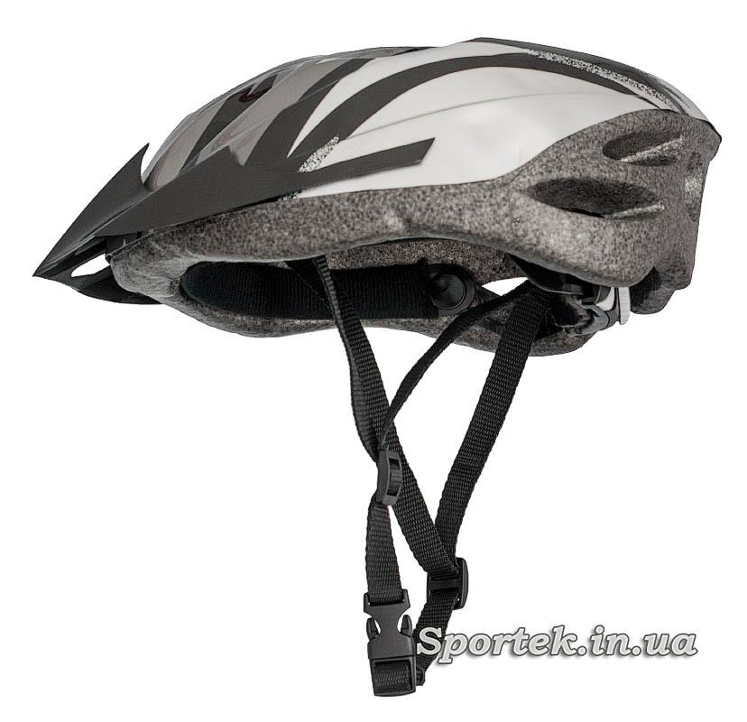 Загальний вигляд з лямками крос-кантрійного велошлема сіро-білого кольору