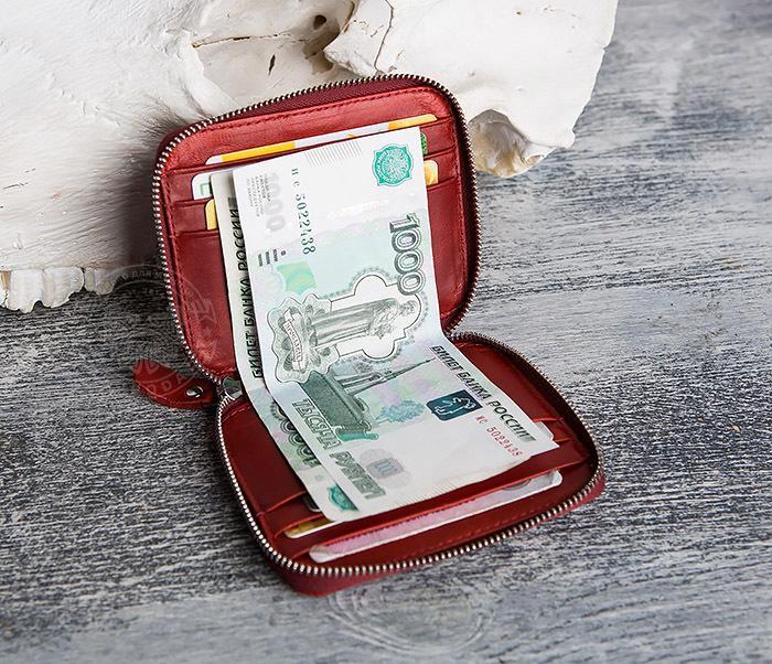 WL289-3 Красный кошелек из натуральной кожи на молнии фото 06