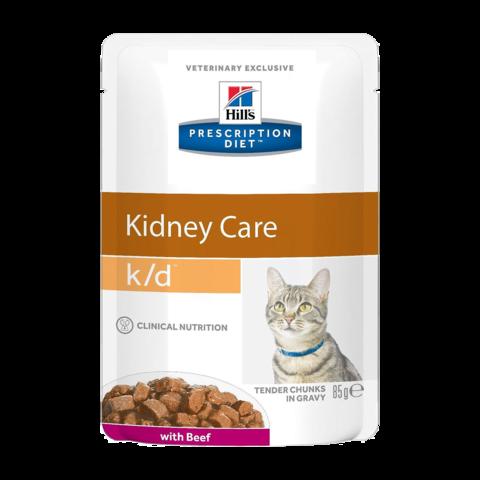 Hill's Prescription Diet K/D Консервы для кошек при заболеваниях почек с говядиной (пауч)