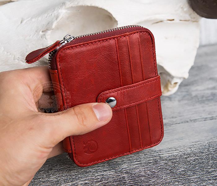 WL289-3 Красный кошелек из натуральной кожи на молнии фото 07