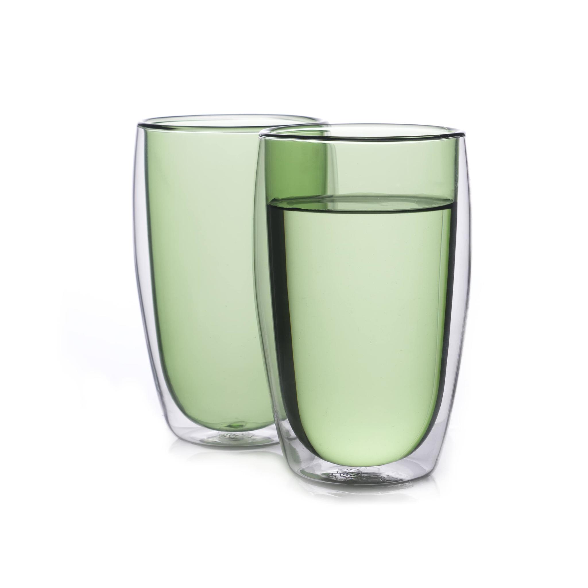 Цветные стаканы и кружки Набор стаканов из двойного стекла зеленого цвета 450 мл, 2 шт. зеленый1-min.jpg